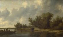 Пейзаж с рекой и  рыбаками - Рейсдал, Саломон ван