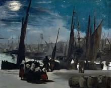 Порт в Булони в лунную ночь - Мане, Эдуард