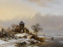 Зимний пейзаж с фигурами - Круземан, Фредерик Маринус