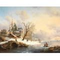 Зимний пейзаж с фигурами близ замка - Круземан, Фредерик Маринус