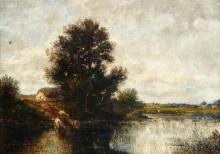 Пейзаж с коровами, пьющими из пруда - Дюпре, Жюль