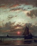 Прибрежный пейзаж с закатом - Дюпре, Жюль