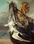 Девушка с чайками - Курбе, Гюстав