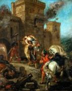 Тамплиер похищает Ребекку во время нападения на замок Фрондебёф - Делакруа, Эжен