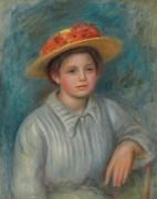 Портрет дамы в соломенной шляпке с цветами - Ренуар, Пьер Огюст