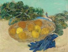 Натюрморт с апельсинами, лимонами и голубыми перчатками (Still Life with Oranges and Lemons with Blue Gloves), 1889 - Гог, Винсент ван