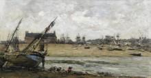Трувиль, вид на порт, 1870-73 - Будэн, Эжен
