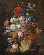 Цветочный натюрморт с виноградом - Мансфельд, Йозеф