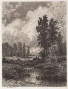 За ручьем (офорт), 1873 - Шишкин, Иван Иванович