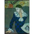 Арлекин за столиком - Пикассо, Пабло