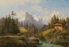 Горный пейзаж со стадом - Барбарини, Густаф