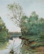 Речной пейзаж с лодкой - Ендогуров, Иван Иванович