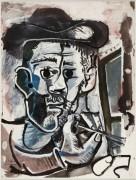 Автопортрет с мольбертом - Пикассо, Пабло