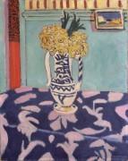 Букет цветов на сине-розовой скатерти - Матисс, Анри