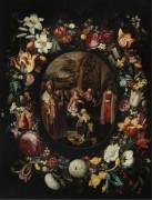 Поклонение волхвов в цветочной гирлянде - Брейгель, Ян (младший)