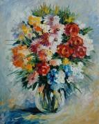 Букет цветов в голубом свете - Афремов, Леонид (20 век)