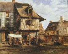 Рыночная площадь в нормандском городке - Руссо, Теодор