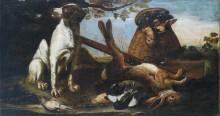 Собаки, охраняющие битую дичь на фоне пейзажа - Конинк, Давид де