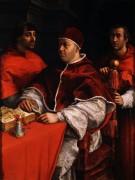 Портрет папы Льва  X с кардиналами - Рафаэль, Санти