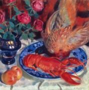 Натюрморт с фазаном и лобстером - Кустодиев, Борис Михайлович