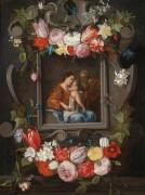 Святое Семейство в картуше с цветами - Брейгель, Ян (младший)