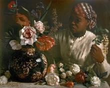 Негритянка с пионами - Базиль, Фредерик Жан