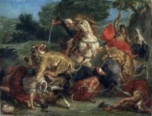 Охота на львов - Делакруа, Эжен