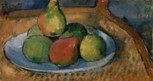Тарелка с фруктами на стуле - Сезанн, Поль