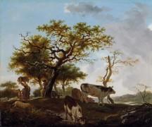 Пейзаж с пастухом и коровами - Фрагонар, Жан Оноре