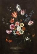 Розы, тюльпаны, ирисы и другие цветы в стеклянной вазе - Брейгель, Ян (младший)