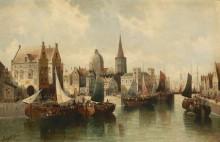 Вид на шумный город с лодками на канале - Зиген, Август фон