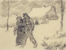 Зимний пейзаж с идущей парой (Winter Landscape with Couple Walking), 1890 - Гог, Винсент ван