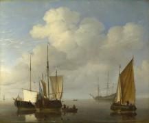 Голландские корабли во время штиля - Велде, Виллем ван де (Младший)