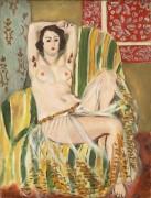 Одалиска, сидящая с поднятыми руками в зеленом полосатом кресле - Матисс, Анри