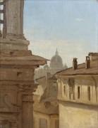 Рим, крыши домов и Базилика святого Петра - Коро, Жан-Батист Камиль