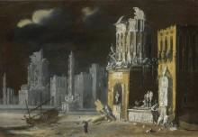 Сказочные Руины со святым Августином и ребенком - Номе, Франсуа де