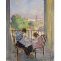 Мадам Лебаск и ее дочь шьют у окна, 1911 - Лебаск, Анри
