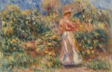 Пейзаж с женщиной в розово-белом - Ренуар, Пьер Огюст