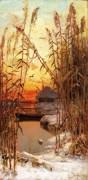 Зимний пейзаж с тростником - Клевер, Юлиус Сергиус
