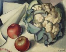 Натюрморт с цветной капустой и яблоками - Лемпицка, Тамара
