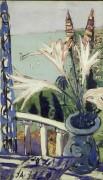 Пейзаж в Ментоне с вазой лилий - Бекман, Макс