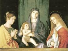 Дева с ребенком меж двух святых, 1490 -  Беллини, Джованни