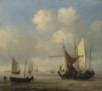 Лодки на мели вовремя штиля - Велде, Виллем ван де (Младший)