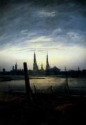 Город во время восхода Луны (город на воде на закате), 1817 - Фридрих, Каспар Давид