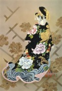Гейша в одежде с цветами