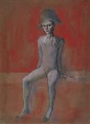 Сидящий арлекин - Пикассо, Пабло