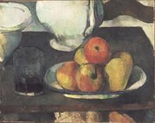 Натюрморт с яблоками и стаканом вина - Сезанн, Поль