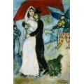 Пара на красном фоне, 1983 - Шагал, Марк Захарович