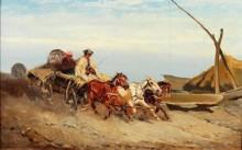 Венгерские крестьяне, возвращающиеся домой - Бенса, Александер фон