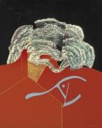 Бутон и голова животного на красном и черном фоне - Эрнст, Макс